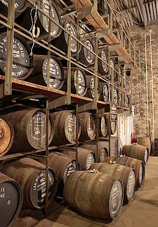 View inside the warehouse of the Springbank distillery