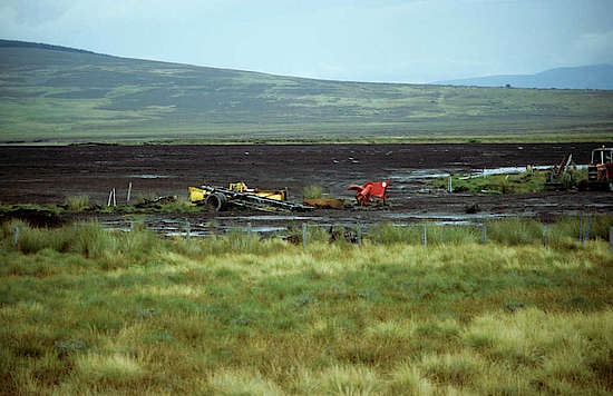 Industrial peat harvest on the Scottish mainland