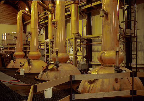 The pot stills of the Glenmorangie distillery.