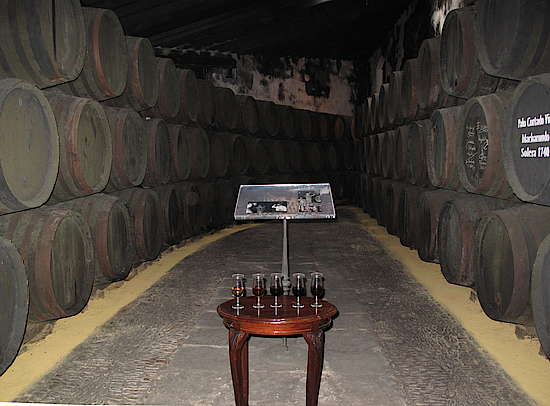 A warehouse of sherry in southern Spain