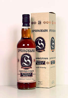 A bottle of Springbank 21 y.o. with its box