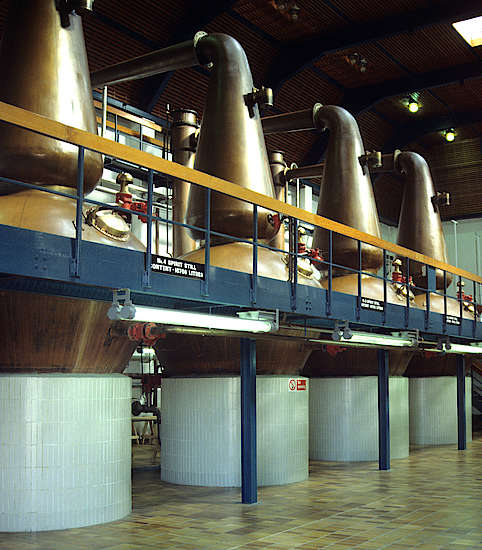 The pot stills of the Auchroisk distillery.